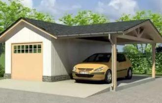 Строительство гаража из бревна с навесом