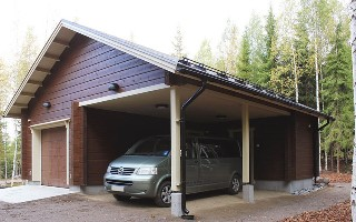 Строительство гаража из клееного бруса