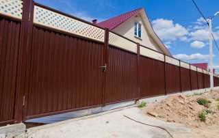 Откатные ворота из профнастила в Самаре
