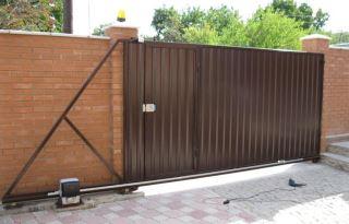 Фото процесса производства Откатные ворота из профнастила в Самаре